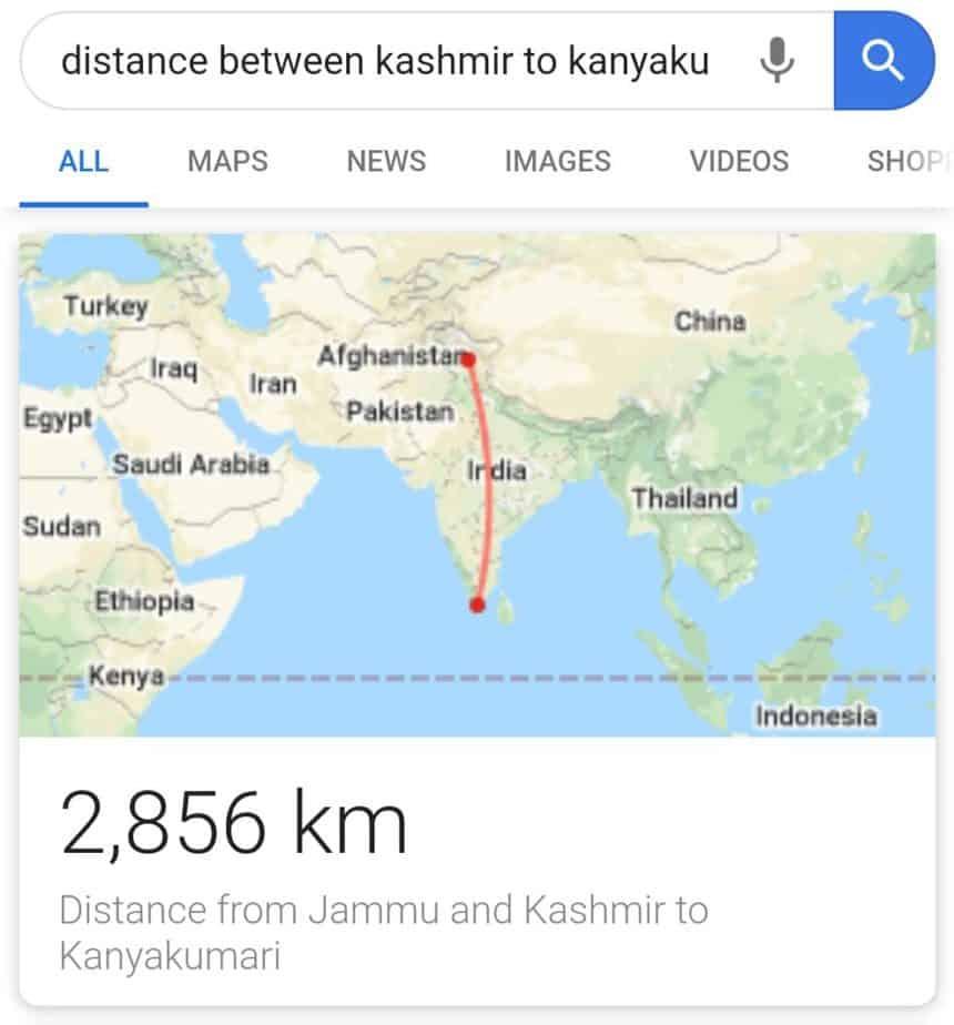 Map screenshot to show distance between kashmir to kanyakumari
