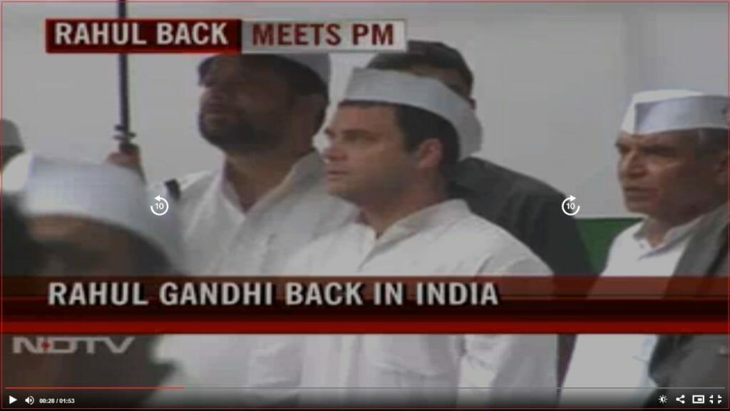NDTV video screenshot to show real position of RG and umbrella man