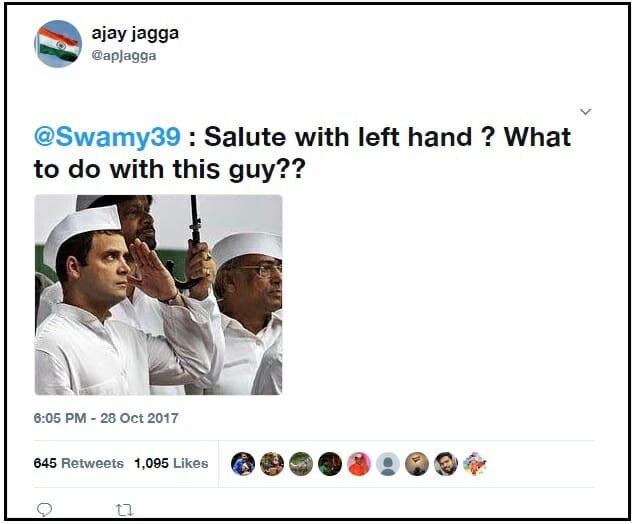post claiming RG salutes flag with left hand