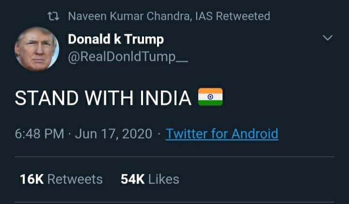Naveen Kumar Chandra retweeted Donald k Trump's tweet