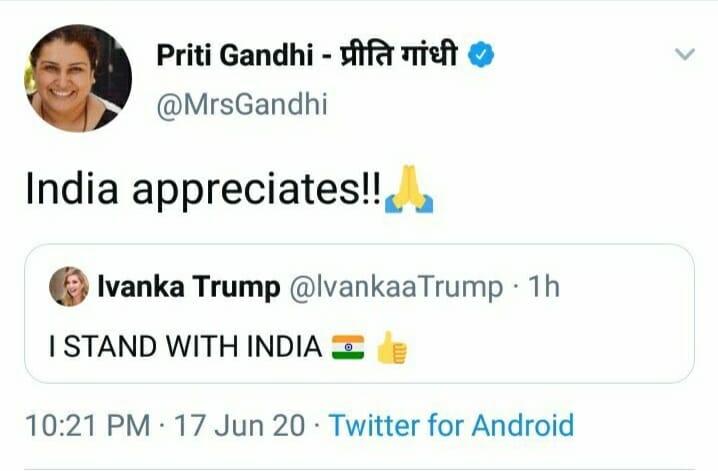 Priti Gandhi retweeted Ivanka Trump's tweet