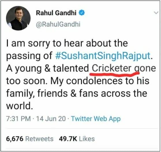 edited tweet of rahul gandhi about sushant singh rajput