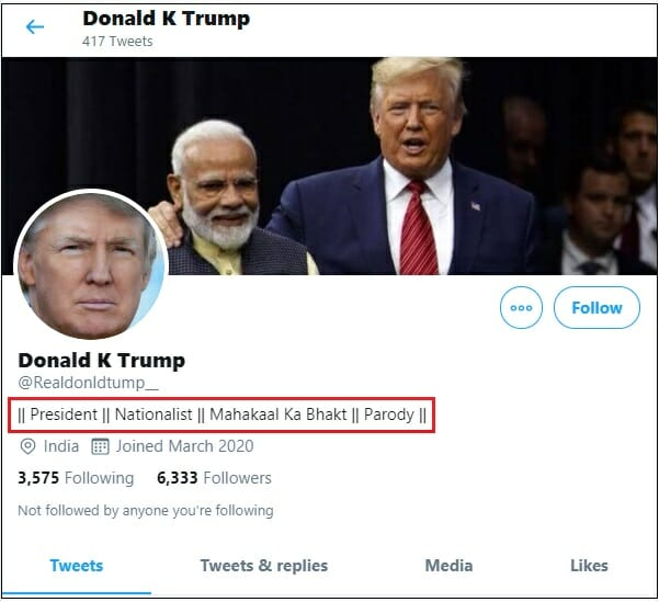 Trump's handle is not real its parody account