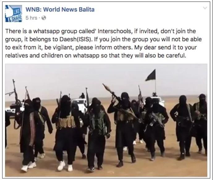 fake viral msg saying ISIS is having whatsapp group named interschools english version