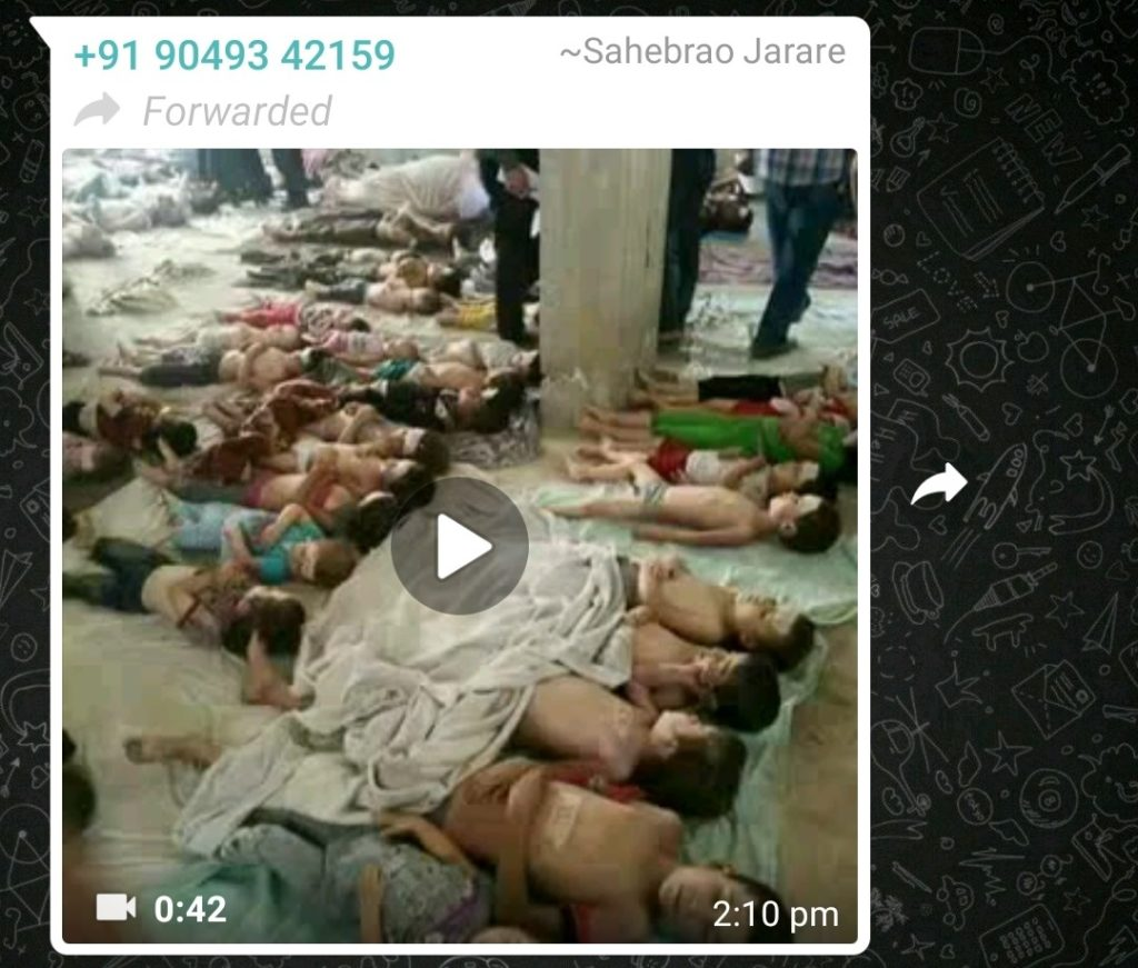 whatsapp screenshot with video claiming dead bodies of childrens from tamilnadu