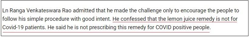 Ranga Rao isn't claiming this remedy works on covid19 checkpost marathi