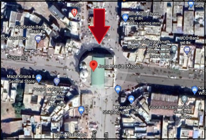 jama masjid sagar on map checkpost marathi