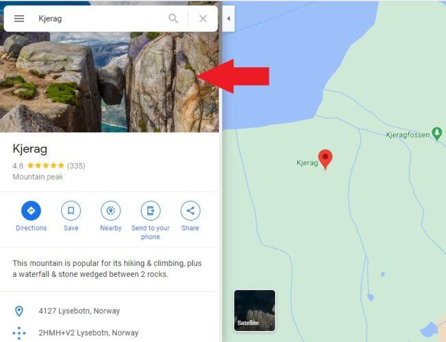 Majestic hanging stone norway on google map checkpost marathi