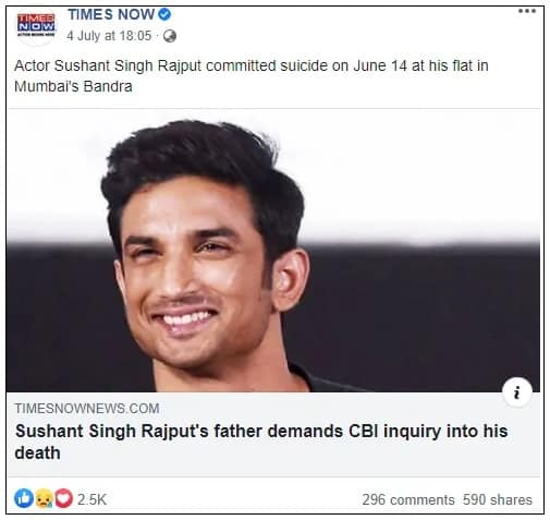 sushant fake news times now on fathers fake tweet
