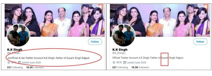 sushant father's fake account