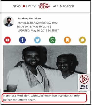 India today news showing Modi with laxmanrao Inamdar