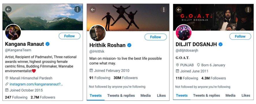 verified twitter handels of kangna hritik diljeet