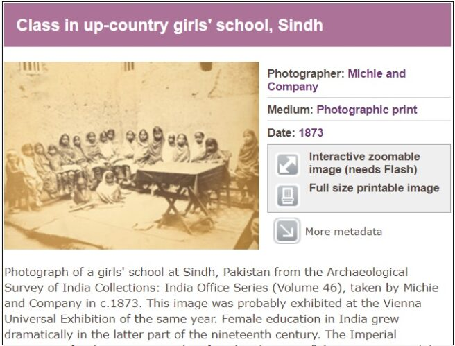 British Library blog about rare photograph of Indian girl school