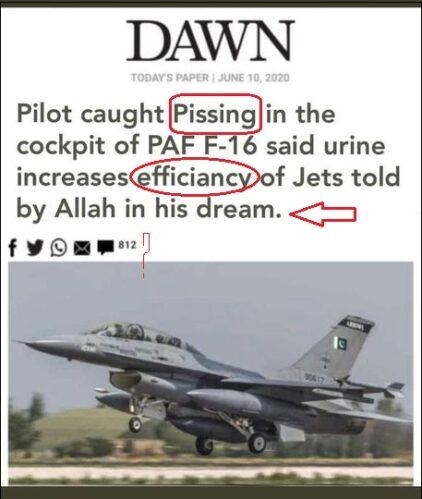 Dawn news fake screenshot claims Pakistani pilot pissed in cockpit