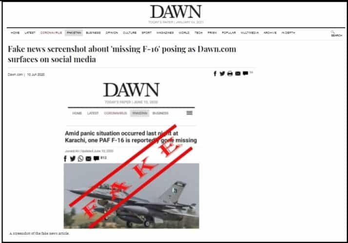 Down declared screenshot of news is fake