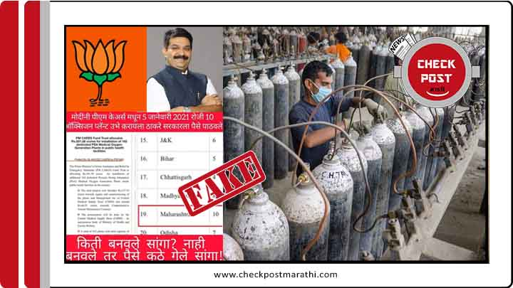 maharashtar gov gulped pm care fund for oxygen plant claimof bjp mla is fake checkpost fact