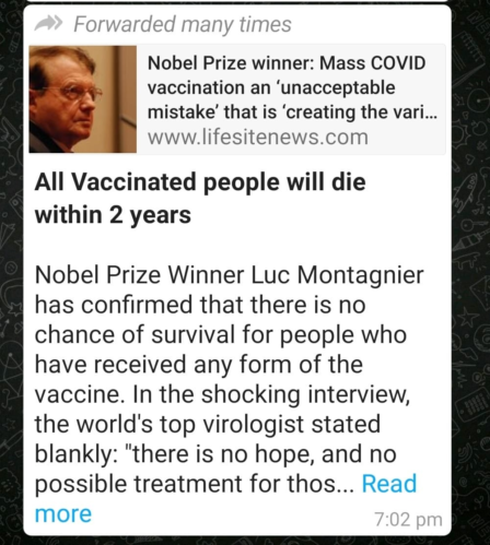 All vaccinated people will die in 2 years whatsapp message