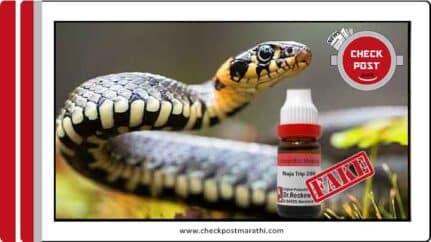 NAJA 200 is not accurate medicine for snake bite check post marathi fact check